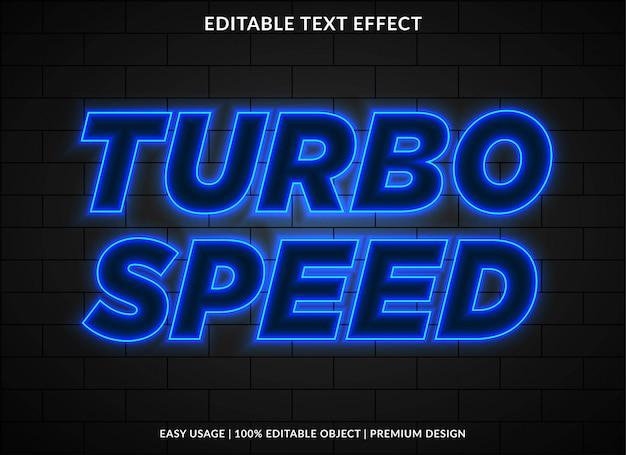 Modèle d'effet de texte néon avec style brillant