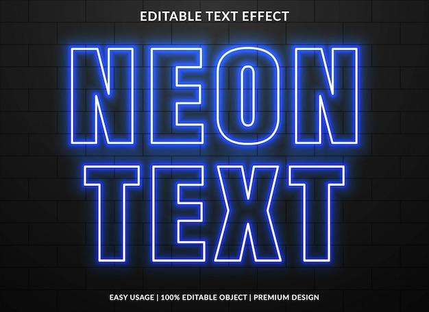 Modèle d'effet de texte néon avec style lumineux