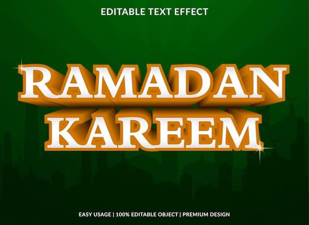 Modèle d'effet de texte ramadan kareem