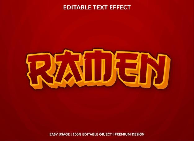Modèle d'effet de texte ramen utilisation de style premium pour le logo et la marque
