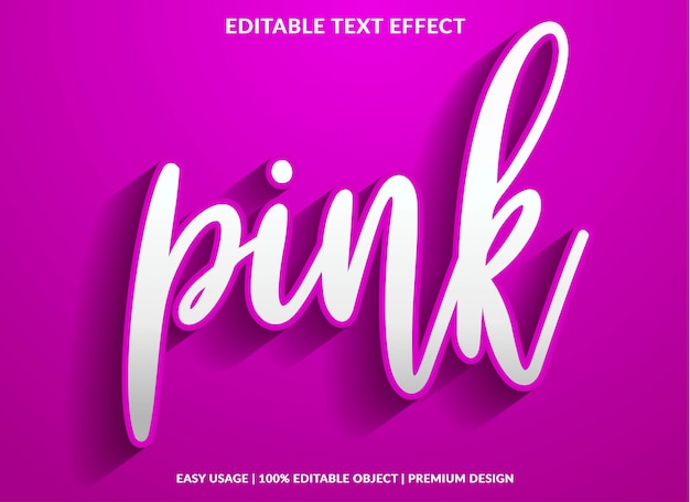 Modèle d'effet de texte rose avec style de type 3d et texte en gras