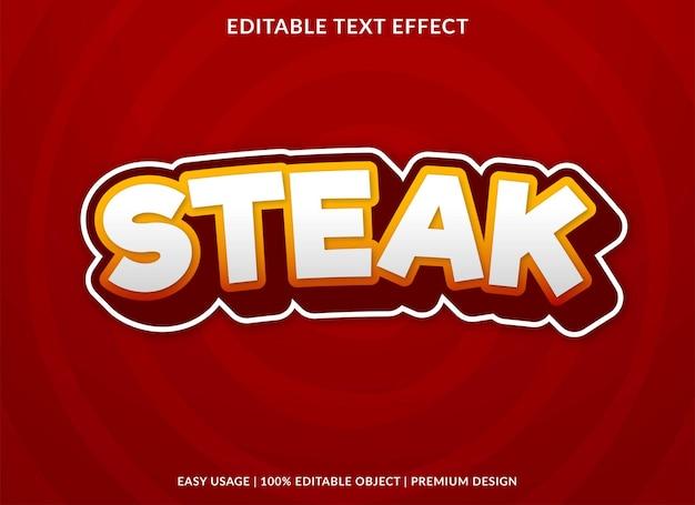 Modèle d'effet de texte de steak utilisation de style premium pour le logo et la marque