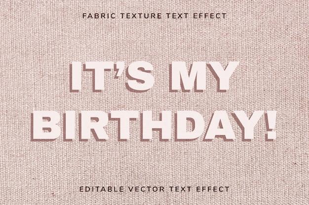 Modèle d'effet de texte en tissu vectoriel modifiable beige