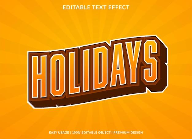 Modèle d'effet de texte de vacances style premium