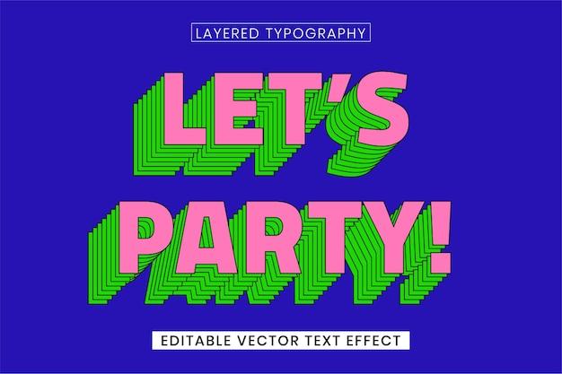 Modèle d'effet de texte vectoriel modifiable par mot en couches rétro