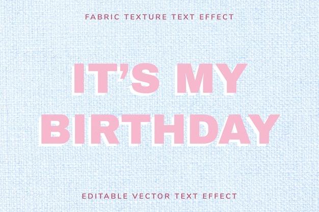 Modèle d'effet de texte vectoriel en tissu modifiable rose