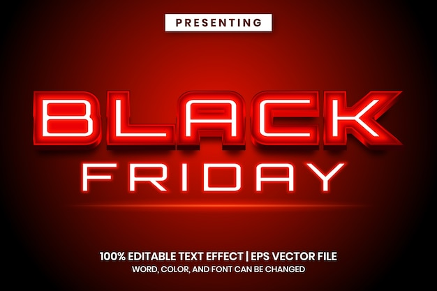 Modèle d'effet de texte vendredi noir enseigne au néon