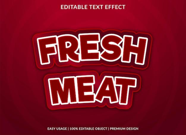 Modèle d'effet de texte de viande fraîche vecteur premium