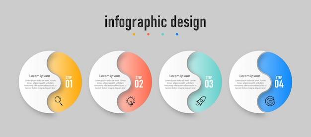 Modèle d'effet de verre transparent de conception d'infographie créative d'entreprise de présentation avec 4 options