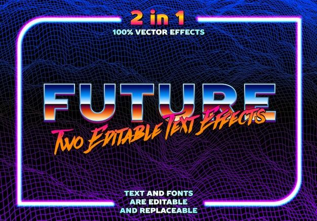 Modèle d'effets de texte synthwave ou retrowave des années 80 stlye 2 en 1. type chrome avec réflexion classique et lettrage brossé avec cadre néon. effet de texte entièrement modifiable avec une police remplaçable