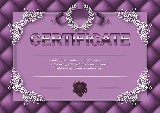 Modèle élégant de certificat, diplôme
