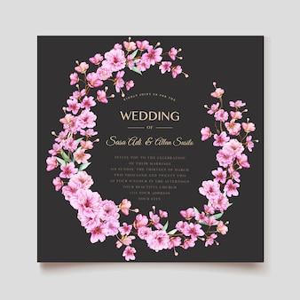 Modèle élégant d'invitation de mariage de fleur de cerisier