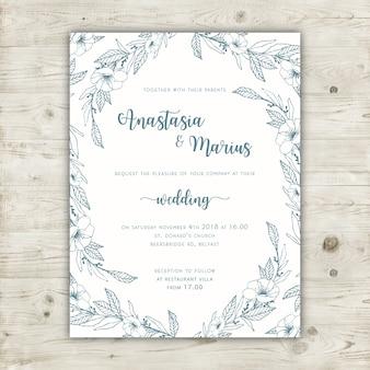Modèle élégant d'invitation de mariage floral