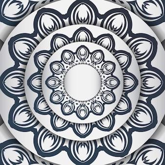 Modèle élégant pour carte postale de conception d'impression couleur blanche avec des motifs vintage bleu foncé. préparation d'une invitation avec un ornement grec.