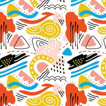 Modèle d'élément abstrait coloré dessiné à la main