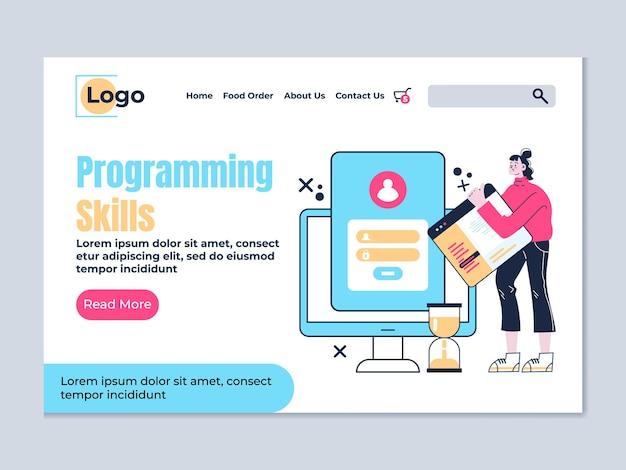 Modèle d'élément de conception de page de site web d'atterrissage de compétences en programmation