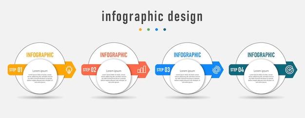 Modèle d'élément de flèche infographique de stratégie