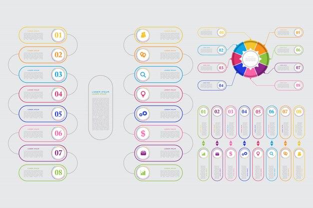 Modèle d'élément d'infographie d'affaires moderne