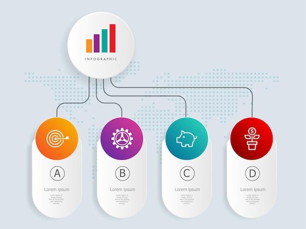Modèle d'élément d'infographie de chronologie horizontale avec des icônes d'affaires 4 étapes