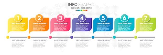 Modèle d'élément infographie coloré