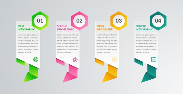 Modèle d'élément infographique abstrait avec 4 options style polygonal papercut avec forme hexagonale sur la numérotation