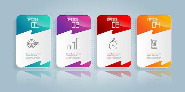 Modèle d'élément de présentation d'infographie horizontale de barre d'onglet abstraite avec l'icône d'entreprise 4 option fond d'illustration vectorielle