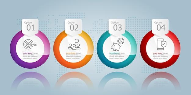Modèle d'élément de présentation d'infographie horizontale de cercle abstrait avec l'icône d'entreprise 4 option fond d'illustration vectorielle