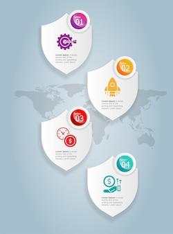 Modèle d'élément de présentation d'infographie verticale abstraite insigne avec icône d'entreprise 4 option fond d'illustration vectorielle