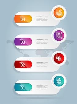 Modèle d'élément de présentation d'infographie verticale de barre d'onglet abstraite avec l'icône d'entreprise 4 option fond d'illustration vectorielle
