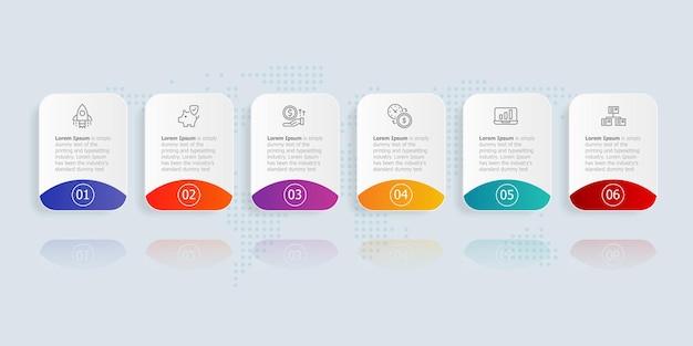 Modèle d'élément de présentation infographique horizontal avec options d'icône d'affaires 6