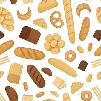 Modèle d'éléments de boulangerie de dessin animé