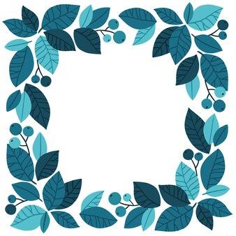 Modèle d'éléments de feuilles et de baies de tendances bleues. dessiné à la main