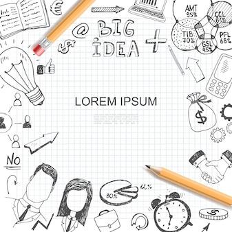 Modèle d'éléments d'idée d'entreprise de croquis avec diagramme d'ampoule graphiques ordinateur portable sac d'argent flèches poignée de main réveil porte-documents hommes d'affaires crayons colorés illustration