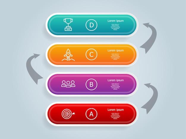 Modèle d'éléments d'infographie de chronologie verticale
