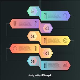 Modèle d'éléments d'infographie étapes dégradé