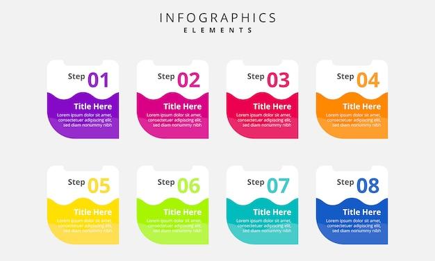 Modèle d'éléments infographiques coloré
