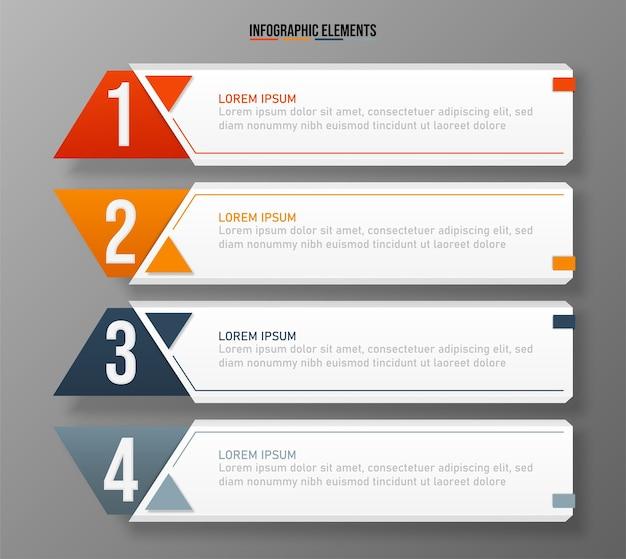 Modèle d'éléments infographiques colorés, concept d'entreprise avec 4 options