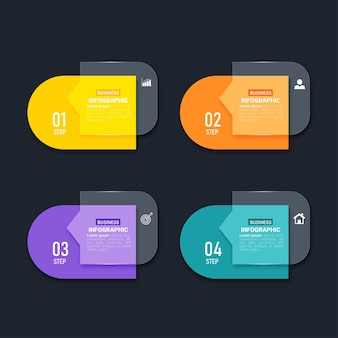 Modèle d'éléments infographiques colorés