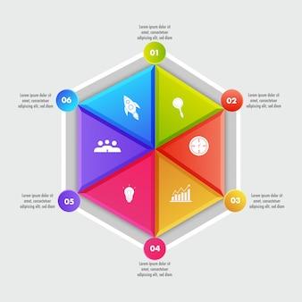 Modèle d'éléments infographiques géométriques de business coloré