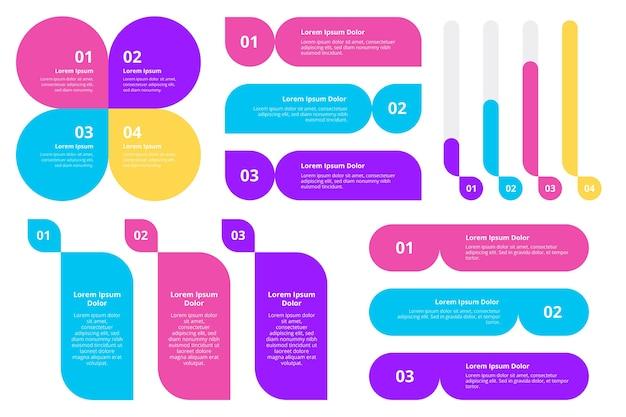 Modèle d'éléments infographiques plats