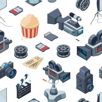 Modèle d'éléments isométriques cinématographe ou illustration