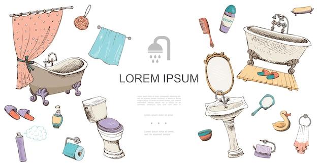 Modèle d'éléments de salle de bain dessinés à la main