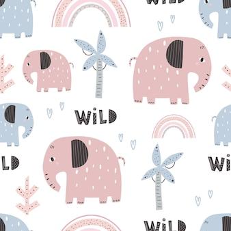 Modèle d'éléphant mignon - conception de modèle sans couture enfantine dessinée à la main. papier numérique