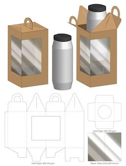 Modèle d'emballage de boîte découpée avec des matrices
