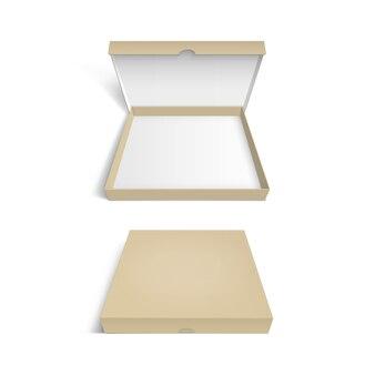 Modèle d'emballage de boîte à pizza isolé sur fond blanc