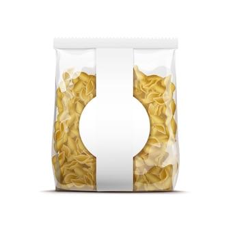 Modèle d'emballage de coquilles de pâtes de vecteur isolé