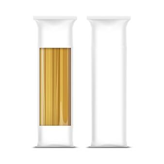 Modèle d'emballage de pâtes spaghetti isolé