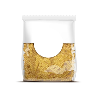Modèle d'emballage de pâtes en spirale fusilli isolé