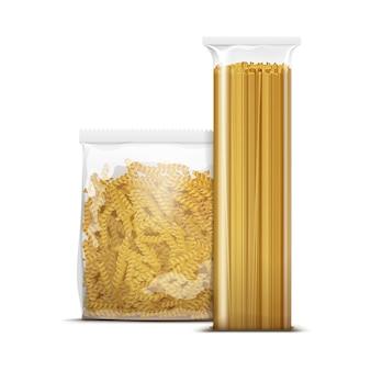 Modèle d'emballage de pâtes en spirale spaghetti et fusilli isolé