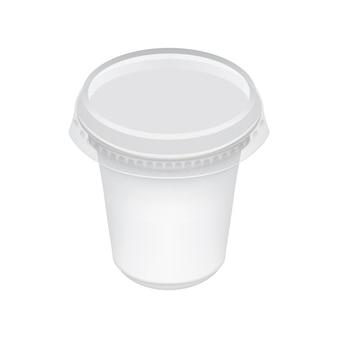 Modèle d'emballage vide isolé sur blanc.